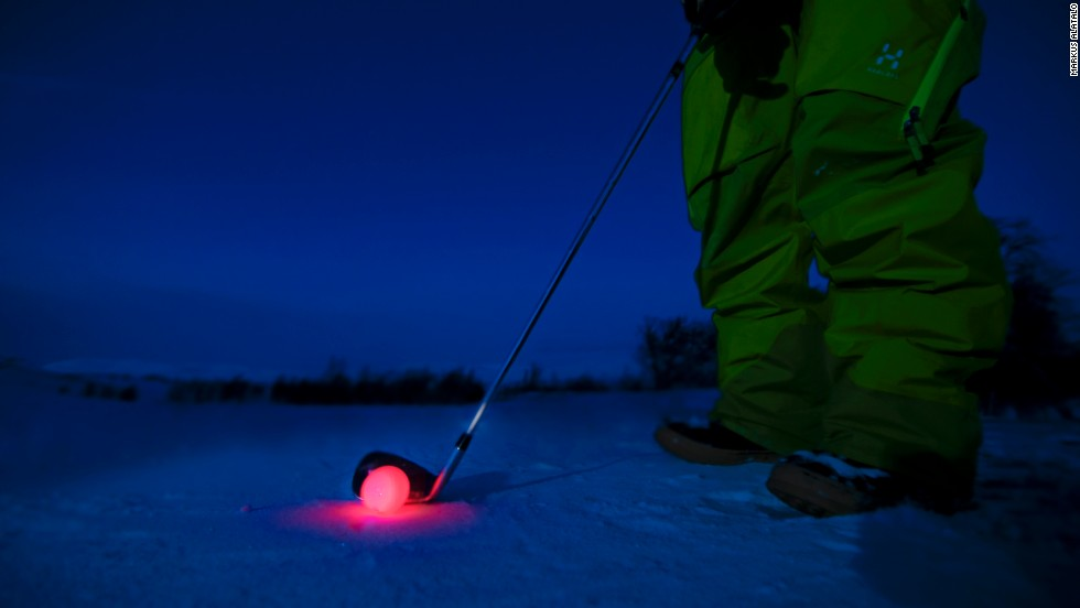 It costs around $50 to play a round at Björkliden, with the resort providing clubs and glowing golf balls.
