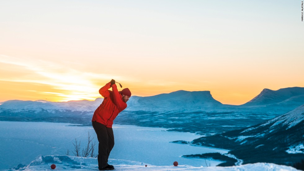 Snow golf: Driving off piste under the Northern Lights ...