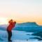 snow golf lapland sunset