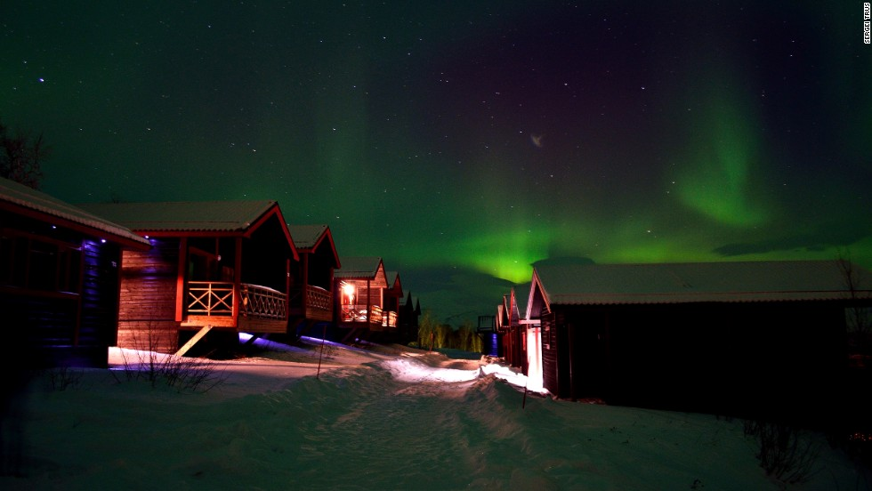 Visitors to Björkliden can stay in a hotel or one of 80 luxury cabins.