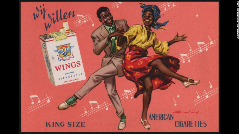 This postcard, printed in Paris around 1950, promotes Wings cigarettes.