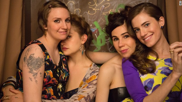 "Lena Dunham, left, and her fellow ""Girls,"" Jemima Kirke, Zosia Mamet and Allison Williams."