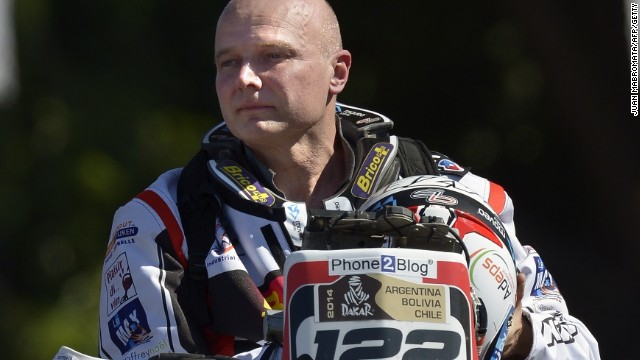 Belgium's Eric Palante at the start of the 2014 Dakar Rally in Rosario in Argentina. The Honda rider died on the fifth stage of the event.