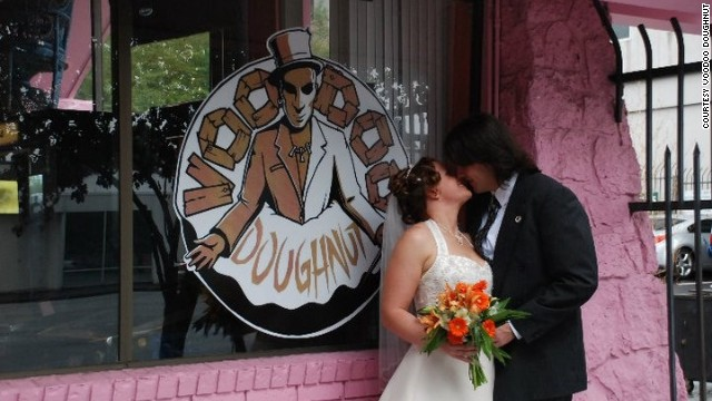 Weddings are on the menu at Voodoo Doughnut in Portland, Oregon.