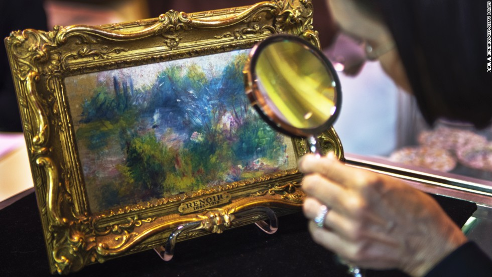 "<a href=""http://www.cnn.com/2014/01/10/us/maryland-renoir-painting/index.html"" target=""_blank"">A Renoir painting</a> finished in the 1800s, loaned to a museum, reported stolen in 1951 and then bought at a flea market in 2010 has to be returned to the museum, a judge ruled on January 10, 2014. The 5½-by-9-inch painting, titled ""Landscape on the Banks of the Seine,"" was bought for $7 at a flea market by a Virginia woman. The estimated value is between $75,000 and $100,000."