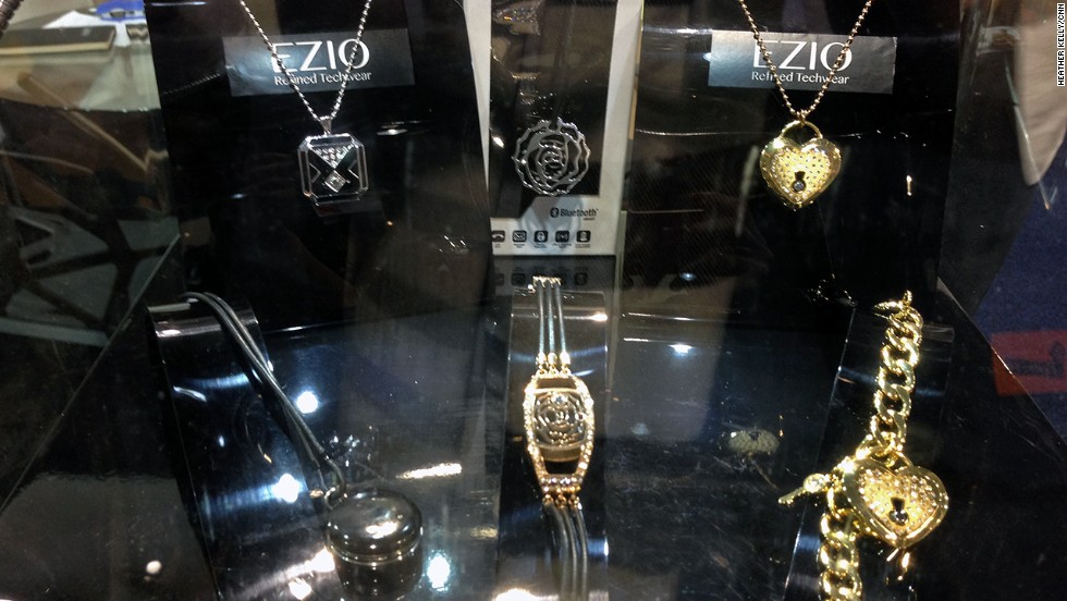 "<a href=""http://www.eziolifestyle.com/"" target=""_blank"">Ezio</a> makes flashy costume-like jewelry such as necklaces and bracelets. They have small gems that light up to indicate incoming calls or messages."