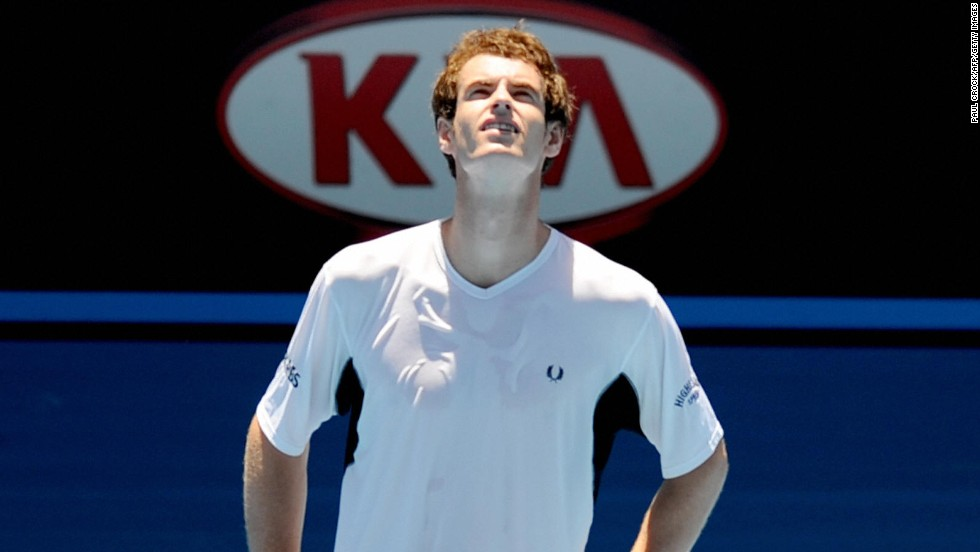 Andy Murray tries to acclimatize himself to the searing conditions during the hottest championship on record in 2009 at Melbourne Park.