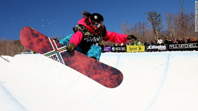 Kelly Marren rides the half pipe during the U.S. Snowboarding Grand Prix in 2009 in Killington, Vermont.