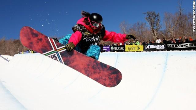 Kelly Marren rides the half pipe during the U.S. Snowboarding Grand Prix in 2009 in Killington, Vermont.
