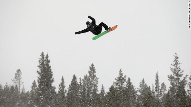 Snowboarders turn windsurfers in Breckenridge.
