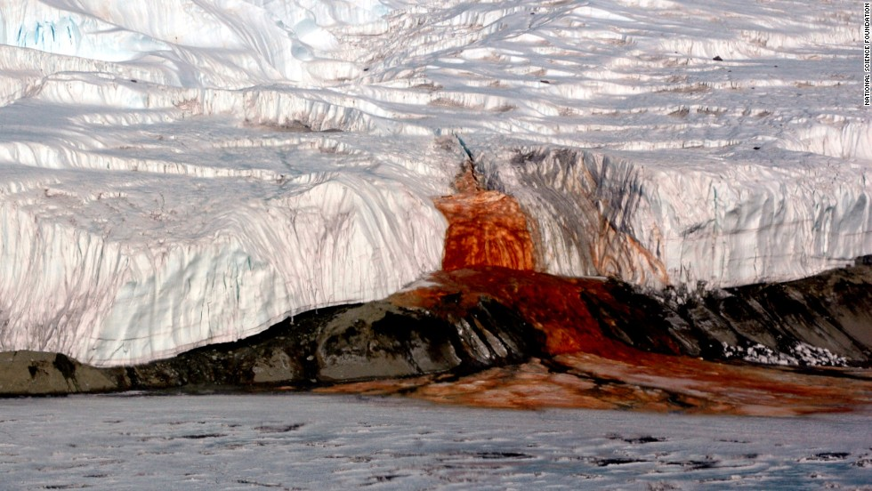 Blood Falls stains the snow-white face of Taylor Glacier in Antarctica. Scientists say the mysterious red flow is caused by a subterranean lake rich in iron.