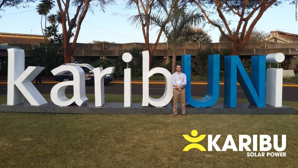 """""""The<a href=""""http://karibusolar.com/"""" target=""""_blank""""> Karibu</a> solar system is a small standing lamp, that is split into three components: the lamp, the battery and the small solar panel. The merchant 'rents' out the lamp and battery for a few weeks, before the renter owns the whole device, including the charger. Using the same small amounts that are typically used to buy kerosene, Karibu provides light but also power to charge cellphones.""""<br />"""