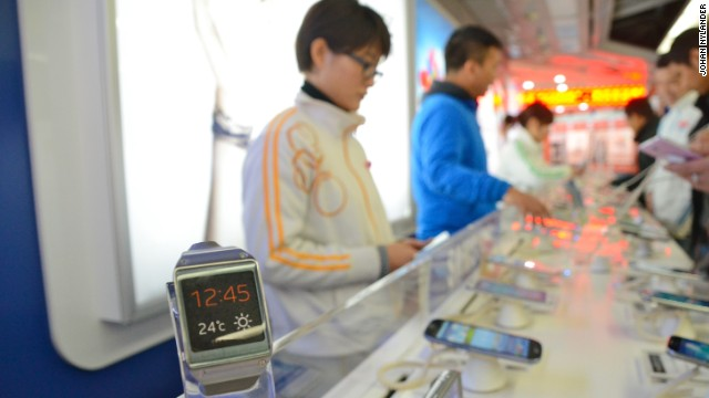 A store in Shenzhen promoting the Samsung smart watches.
