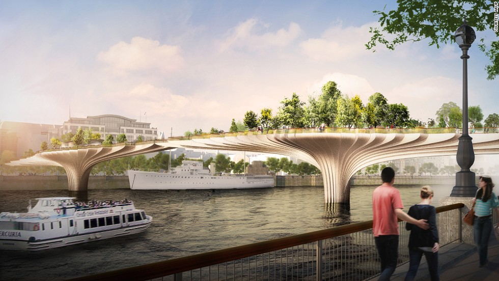 """We need to hold up this large weight, complete with worms, rainwater and decomposing leafy mulch, without letting the bridge structure become visually more important than the garden,"" says Heatherwick."