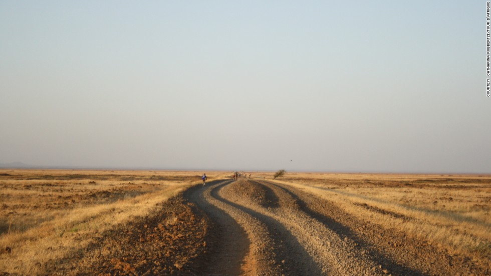 Terrain is another challenge, rarely more so than in the northern Kenyan lava rock desert. (Pictured, 2013 Tour)