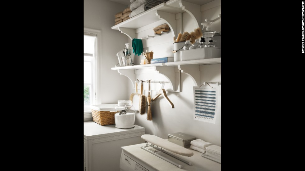 Make your laundry room work harder. Versatile wall shelves, re-purposed counter space, and assigned spots for frequently used tools enhance the usefulness of a small space.