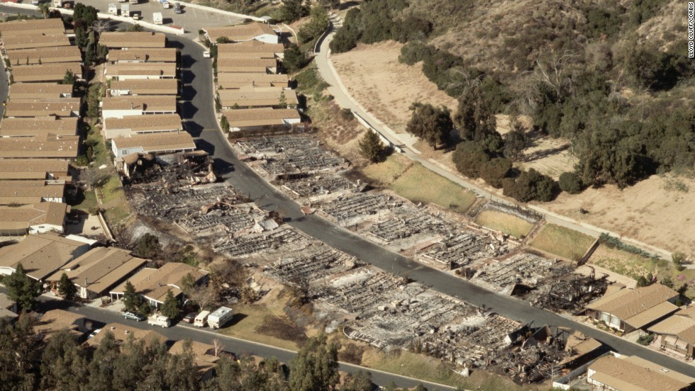 This is an aerial view of Los Angeles houses that were destroyed by fire after the quake.