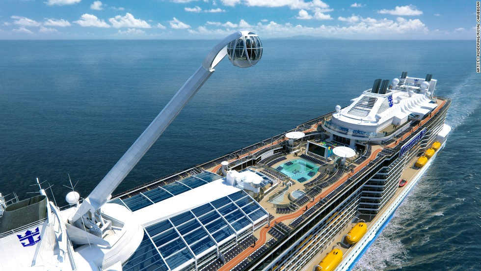 "Cruise lines are constantly trying to outdo each other. Royal Caribbean's Quantum of the Seas gets the ""wow factor"" award, with a skydiving simulator, bumper cars, an aerial viewing pod and inside cabins with ""virtual balconies"" thanks to giant LCD screens showing an ocean view. Take a look at other new vessels arriving this year:"