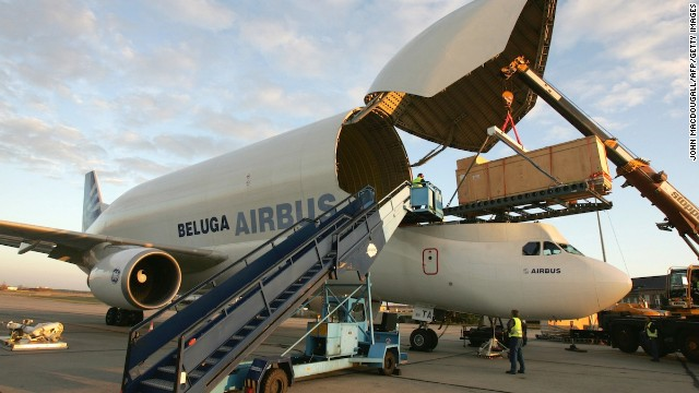 The Beluga transported this container holding a five-meter-high Egyptian statue from Berlin to Paris.