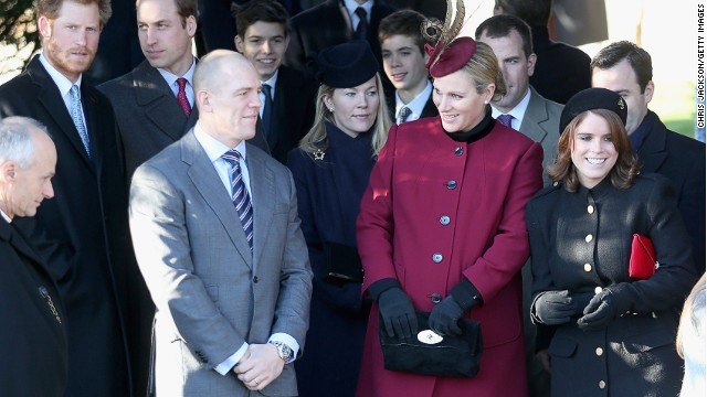 Zara  and Mike Tindall leave the Christmas Day service at Sandringham on December 25, 2013 in King's Lynn, England.