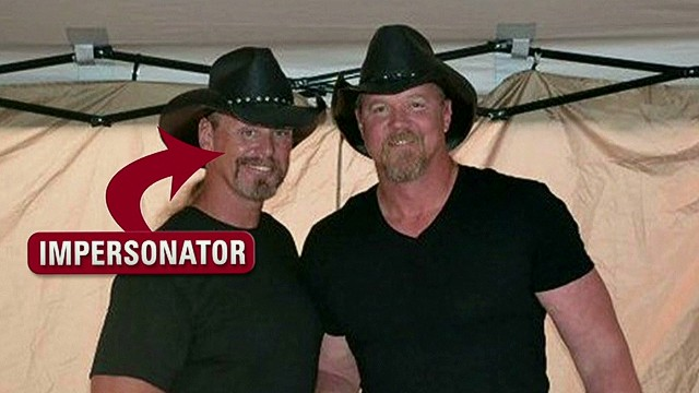 Drunk country star hits his impersonator