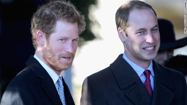Prince Harry, left, and Prince William leave the Christmas Day service at Sandringham on December 25 in King's Lynn.