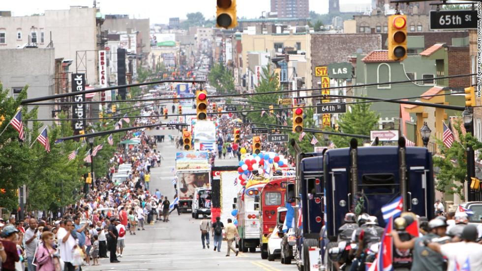 Go Cuban in West New York. Thousands of people attend the Cuban Day Parade (shown here) along Bergenline Avenue, which goes through West New York, North Bergen, Guttenberg and Union City.