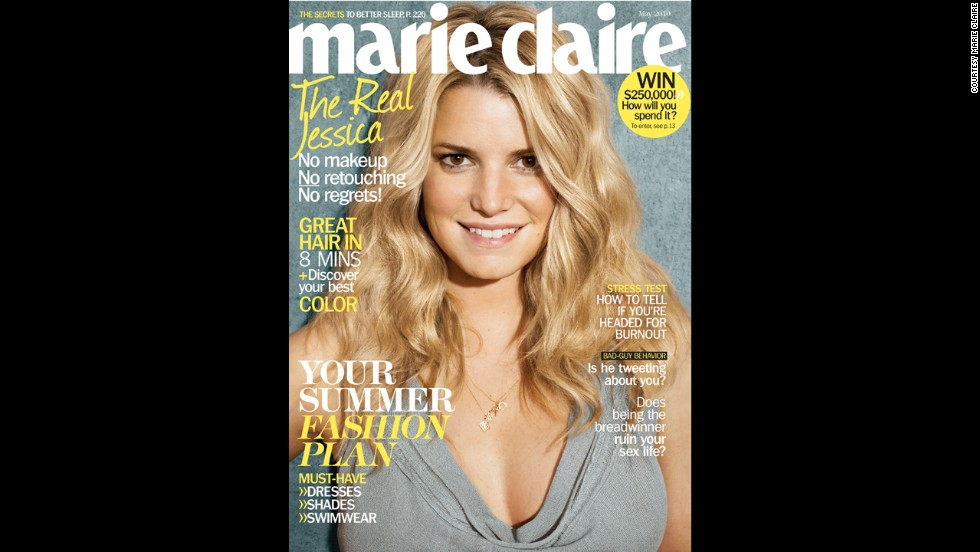 "Jessica Simpson appeared with air-dried hair and wearing no makeup for the May 2010 cover of Marie Claire. Simpson told the magazine, ""I don't have anything to prove anymore. What other people think of me is not my business."""