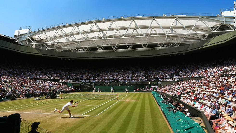 Wimbledon's Centre Court is unfettered by advertising boards but the All-England Club does have partnership deals with official suppliers for the tennis grand slam event.