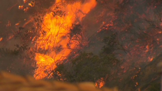Fire rages as drought ravages California