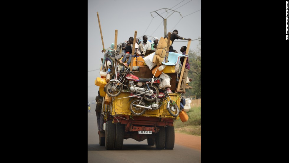 A truck packed with Muslim civilians and their belongings leaves Bangui on January 18.