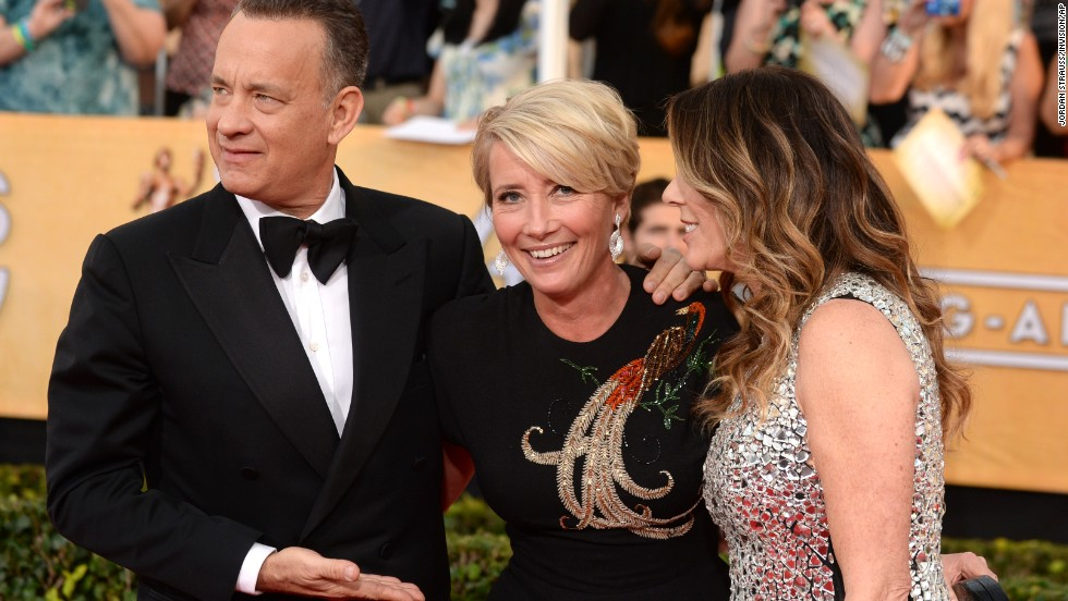 From left, Tom Hanks, Emma Thompson and Rita Wilson