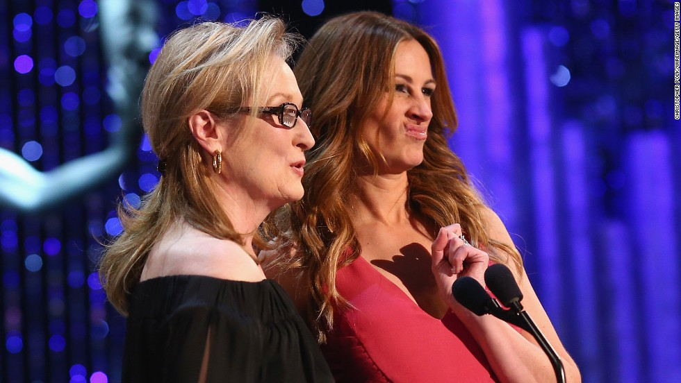 "Meryl Streep, left, and Julia Roberts co-star in ""August: Osage County,"" which was nominated for outstanding performance by a cast in a motion picture."
