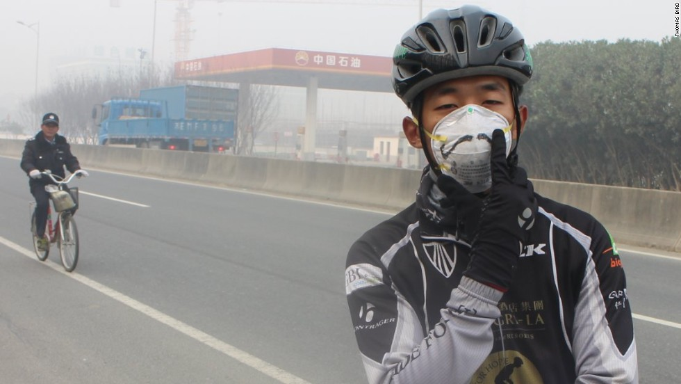 The Ride for Hope charity bike ride covered 2,000 kilometers between the southern Chinese city of Shenzhen and Shanghai. Epic smog hovered over riders, such as bike mechanic Carl Wu (pictured), for most of the route.