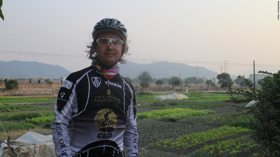 Writer and cyclist Thomas Bird breathing (not so) easy on the smoggy route between Shenzhen to Shanghai.