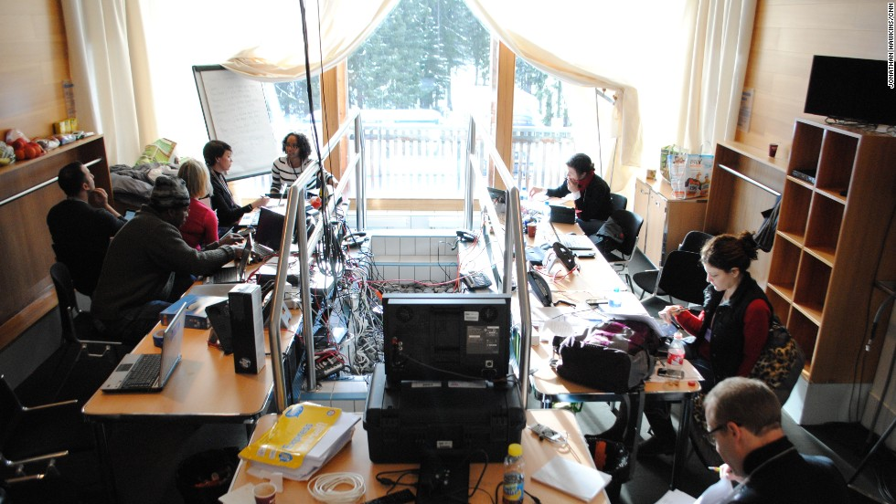 CNN is setting up in its workspace -- which is usually used as a spa. CNN is broadcasting from Davos between January 20 and January 25.