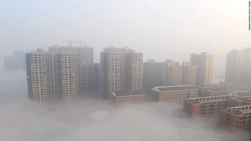 In Hunan Province, the city of Changsha was enveloped in thick smog on January 14, 2014.