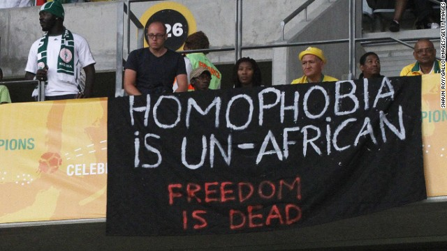 A protest takes place against Nigeria's anti-gay marriage law at Cape Town Stadium on January 19, 2014 in South Africa.