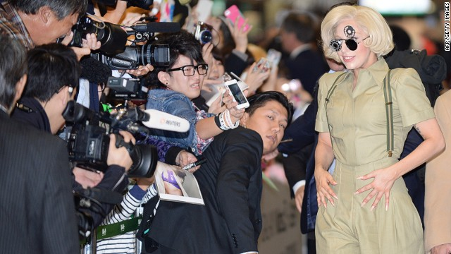 Lady Gaga poses for Japanese fans while promoting her latest album 'ARTPOP' in November.