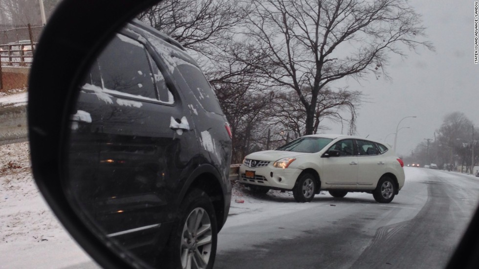 Icy roads cause hazardous conditions as cars slip and slide in Staten Island on January 21.