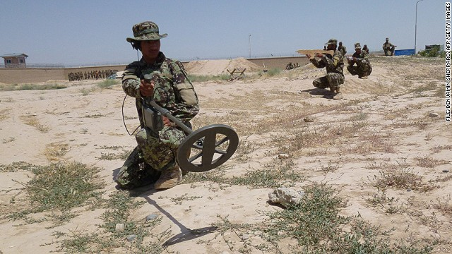 [File photo]  Afghanistan National Army (ANA) take part in a de-mining exercise at Camp Shaheen on June 12, 2013.
