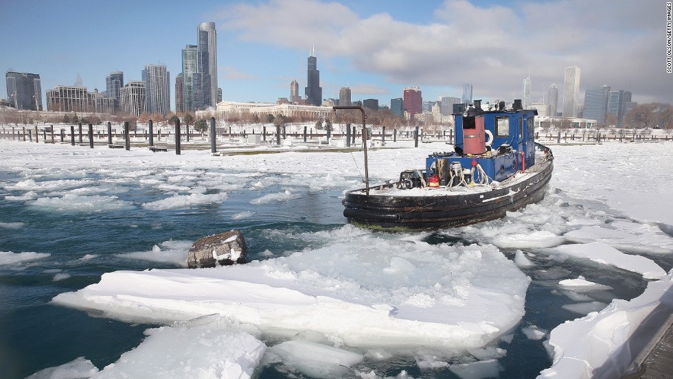 The tugboat Commissioner breaks up ice in Chicago's Burnham Harbor on January 21.