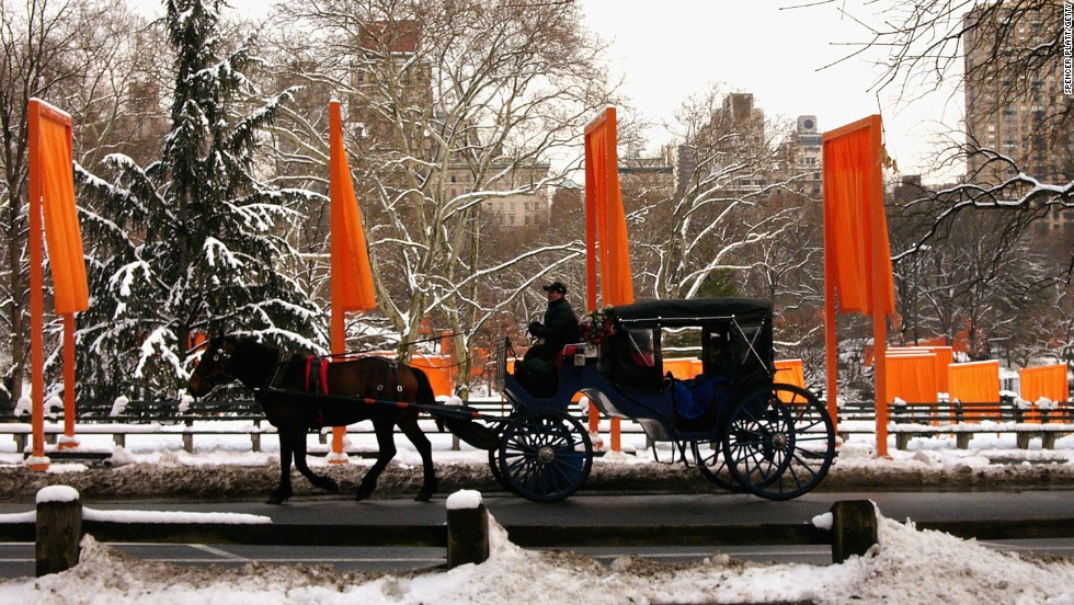 "A hansom cab passes by artists Christo and Jeanne Claude's installation ""The Gates"" in  Central Park on March 1, 2005. The fabric ""gates"" strode 23 miles of paved paths throughout the park."