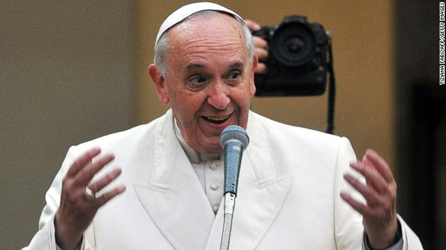 Pope Francis in the Rome parish of the Sacro Cuore di Gesu for a pastoral visit on January 19, 2014.