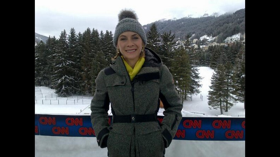 CNN's Nina Dos Santos is getting ready for her live shot in Davos.