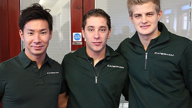 (Left to right) Caterham team racers Kamui Kobayashi, Robin Frijins and Marcus Eriksson