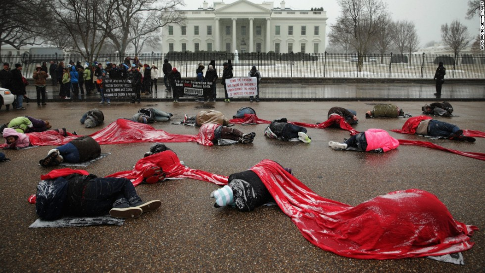 "Anti-abortion activists participate in a ""Memorial Die-in"" outside the White House on Tuesday, January 21. People from all around the country are planning to gather in Washington for the annual March for Life on Wednesday to protest the Roe v. Wade Supreme Court decision in 1973 that helped to legalize abortion in the United States. Take a look back at the annual rally through the years:"