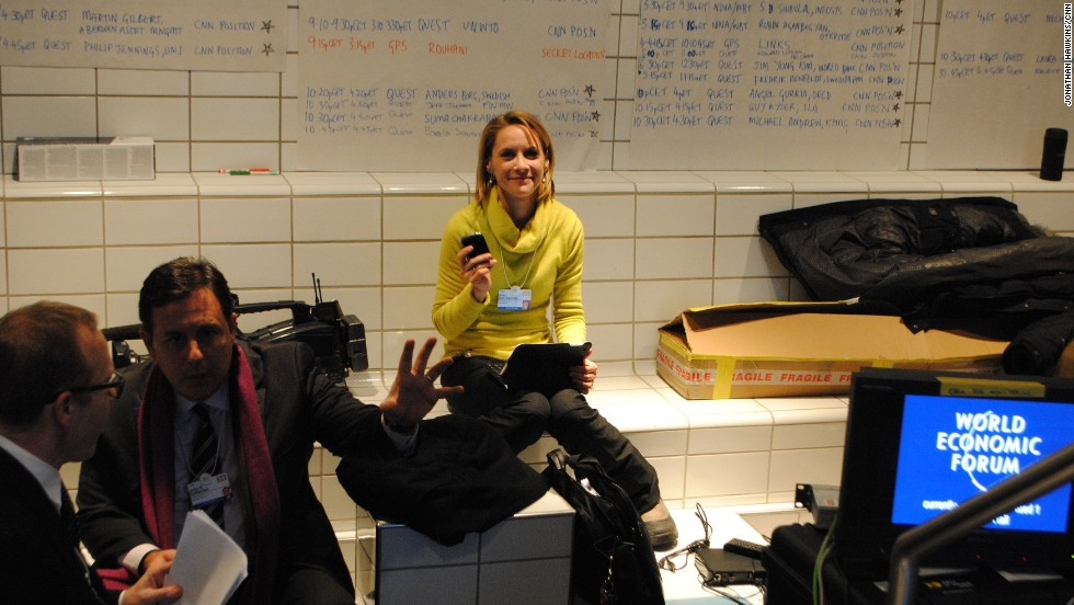 Nina dos Santos finding that space is at a premium in CNN's Davos workspace.