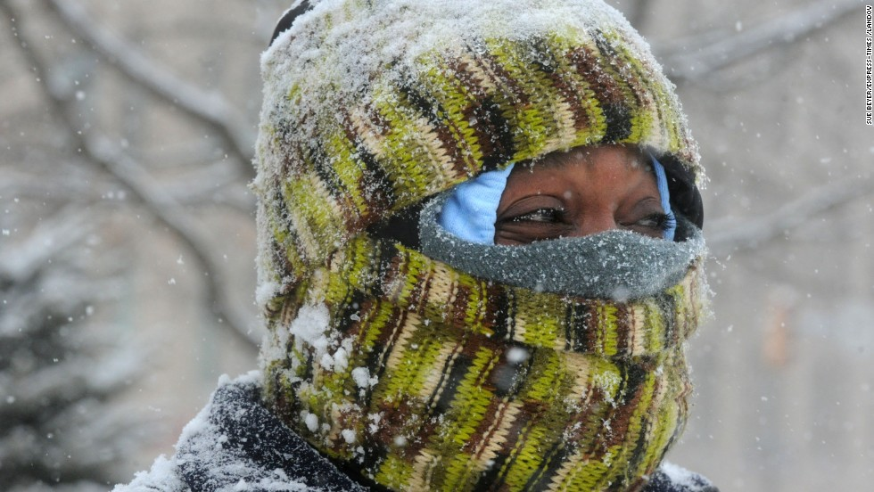 Jason Stoudemire keeps warm while out in Centre Square in Easton, Pennsylvania, on January 21.