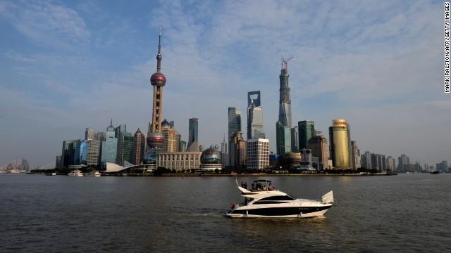 View of the Pudong financial district skyline from the historic Bund in Shanghai.